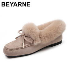 BEYARNE womens moccasin shoes  winter warm fluffy cow suede leather Slip On solid squaretoe loafers womens shoesSoft ballerina