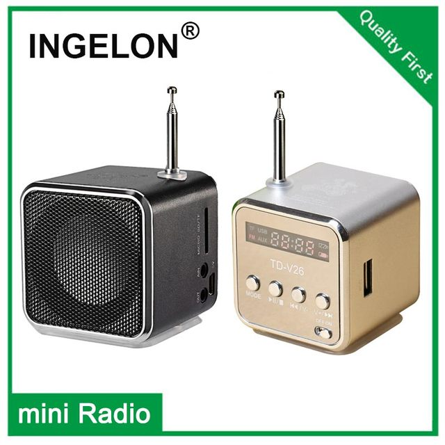 Ingelon แบบพกพา Mini วิทยุ FM ลำโพง LCD สเตอริโอ MP3 เครื่องเล่นเพลง Micro SD/TF/USB 8GB การ์ด Dropshipping