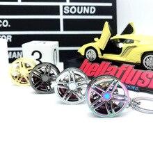 цена на Hellaflush style AMG Rim keychain Car Wheel hub Brake disc key ring JDM decorative Modification for Mercedes auto accessories