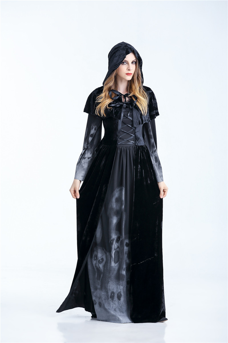 Hba1732455184418fa748c32bcecb6095n - Horrible Skeleton Vampire Costume Purim Festival Hooded Witch Dress Ghost Demon Wicked Ball Devil Costume Women Scary Costumes
