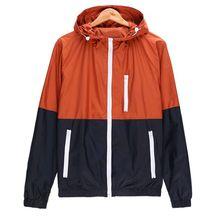 Spring Summer Colorblock Zipper Men Women Long Sleeve Patchwork Hooded Pockets Casual Sport Coat