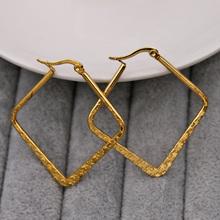 Modne modne kolczyki dla kobiet kolczyki pokryte złotem złoty kwadrat kolczyki hoop kolczyki biżuteria ślubna na prezent akcesoria tanie tanio CN (pochodzenie) Miedziane Kobiety Other Kolczyki w kształcie kółek TRENDY SQUARE Akrylowe moda Copper Gold
