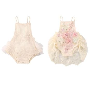 Детские кружевные ромперы для младенцев; Комбинезоны принцессы с цветочной вышивкой без рукавов для маленьких девочек; Комбинезоны; Платье-пачка; Комбинезоны