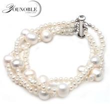 Real White Freshwater Pearl Bracelet For Women,Multi Layer Strand Daughter Best Gift