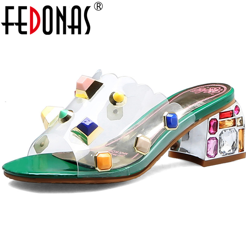 FEDONAS Half Slippers Summer Colorful Rhinestone Party Prom Women Sandals Open Toe Women Thick Heeled 2020 Fashion Shoes Woman