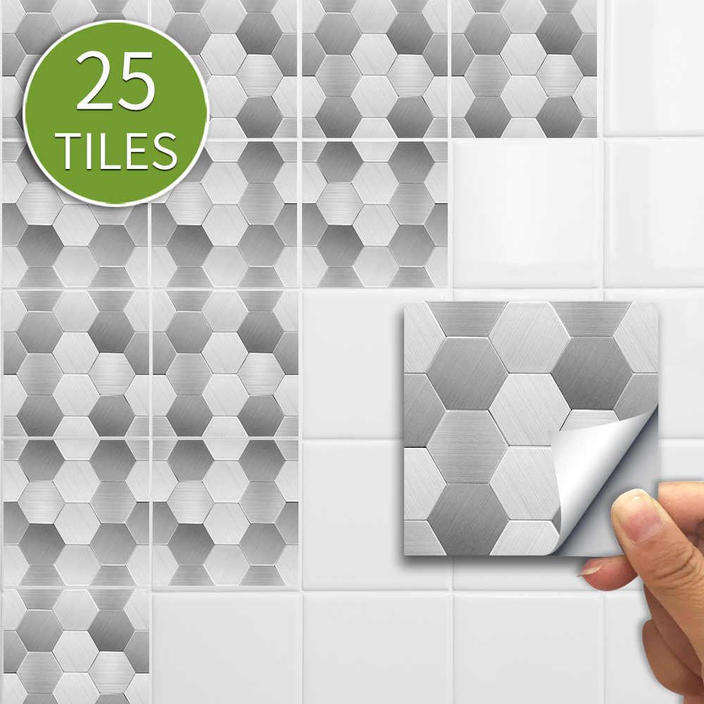 25 Con Lục Giác Bạc Truyền Thống PVC Dán Phòng Tắm Khảm Bếp Ốp Miếng Dán Tự Dán Trang Trí Treo Tường 10*10 cm/15*15 Cm