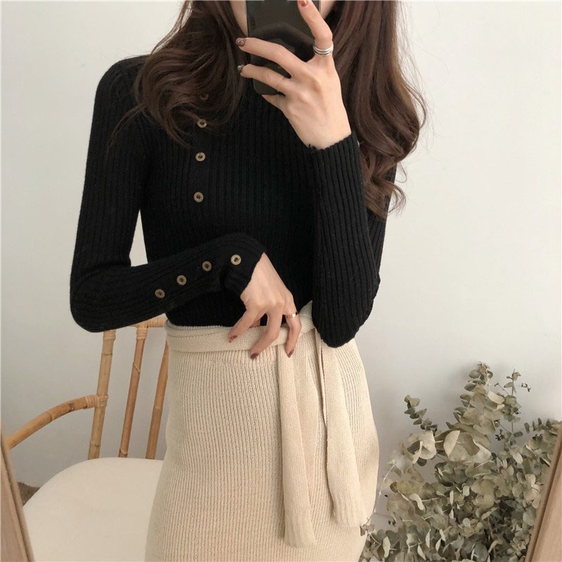 Nice Autumn Winter Women Turtleneck Sweater Button Design Long Sleeve Pullover Jumper Knitted Top Pull Femme Sweater
