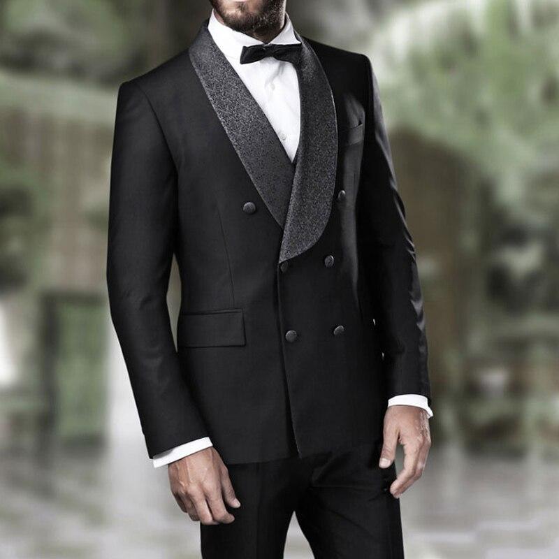 Tuxedos de marié sur mesure pour hommes Double boutonnage châle revers nouvelle mode Slim Fit personnalisé homme costumes 2 pièces veste pantalon