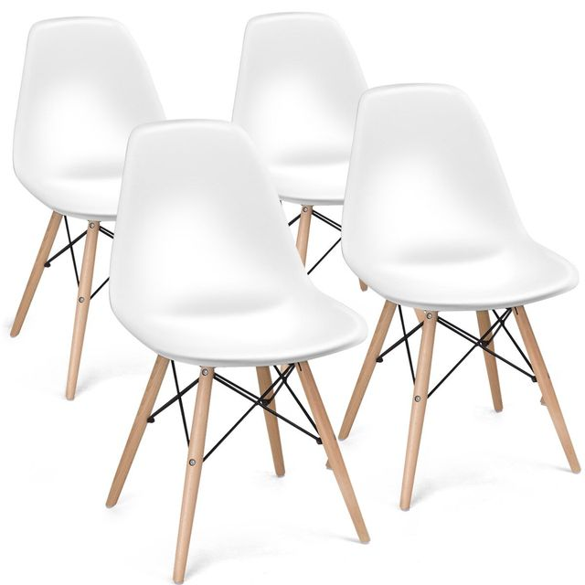 COSTWAY Set of 4 Mid Century Modern Style Dining Side Chair Wood Leg 2