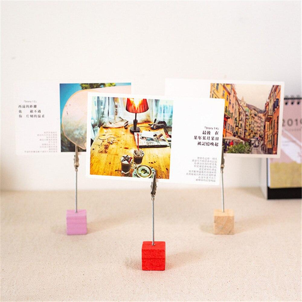 2 шт красочные деревянные кубики Memo Клип держатель Железный фото хомуты стенд настольные украшения для офиса Настольный Органайзер