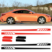 DWCX PVC Black/Red 2Pcs Vinyl Car Side Body Long Stripe Decal Sticker Decor Fit for Mercedes Benz