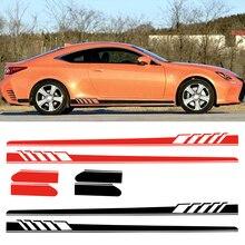 Dwcx pvc preto/vermelho 2 pçs vinil corpo lateral do carro longo listra decalque adesivo decoração apto para mercedes benz