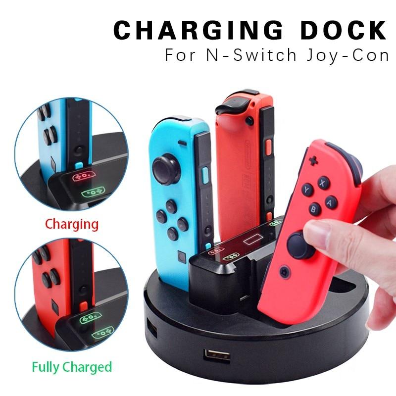 Док-станция Swich Pro/Switch Joy-Con для зарядного устройства, светодиодный держатель для зарядного устройства с кабелем Micro USB для консоли Nintendo Switch