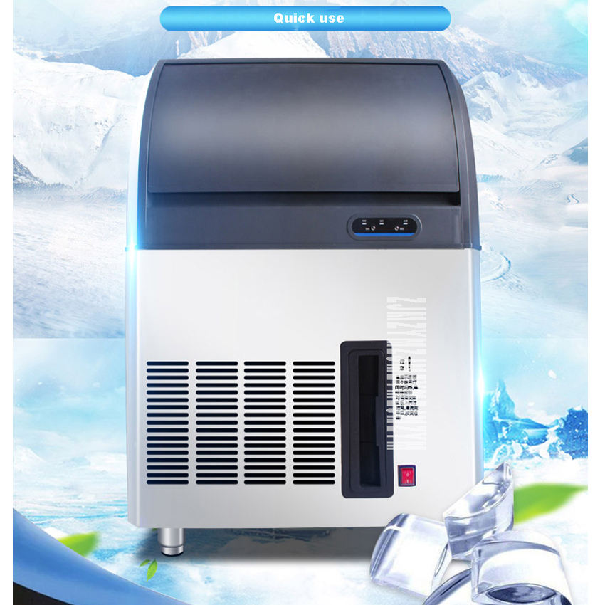 Crescent-shaped Ice Machine Practical Commercial Tea Shop Bar Large-scale Automatic Ice Machine 220V 350W 50kg/24h HL-ZBY50