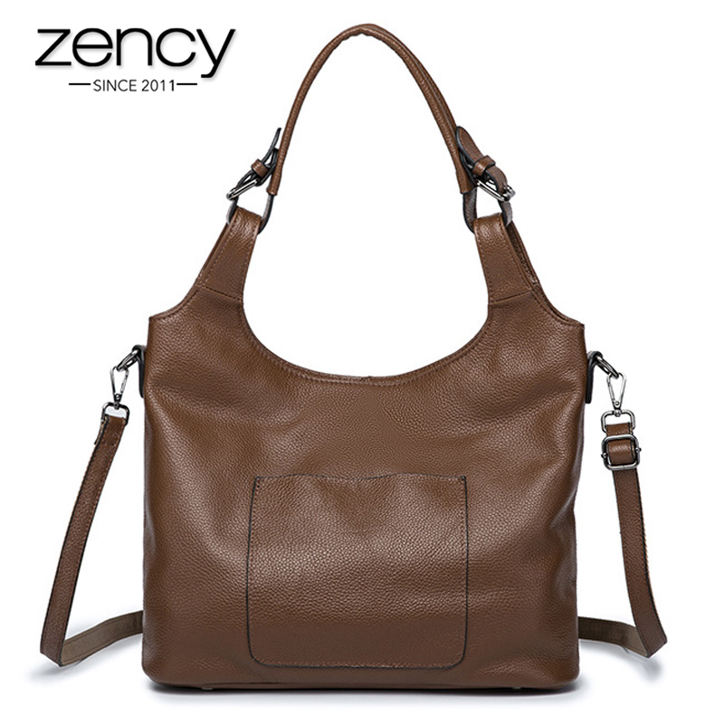 Zency Luxury Women Shoulder Bag Made Of Genuine Leather Fashion Khaki Lady Messenger Bags High Quality Hobos Tote Handbag Black