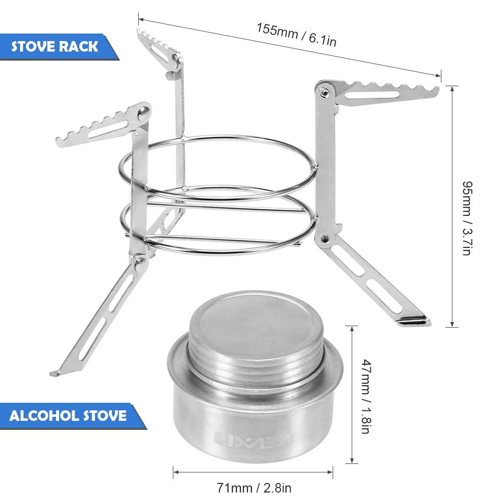 Outdoor Alcohol Stove Mini Kitchen Spirit Stove Camping Stainless Steel Furnace Windproof Windshield Picnic Solid Liquid Cooker