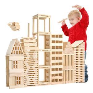 Image 1 - Ahşap inşaat yapı modeli tuğla blokları çocuk zeka geliştiren oyuncak 100 ahşap pano DIY Set oyun arkadaş çocuklar hediye