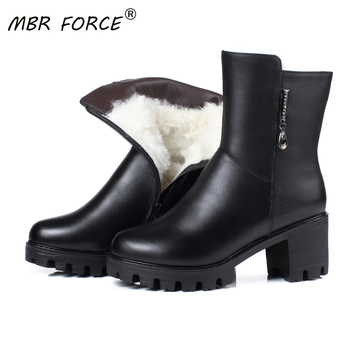 MBR FORCE 2020 New Winter mid calf Boots Women Black Real Leather Platform High Heel Warm Wool Snow Boots Women Big Size 42 43 autumn winter new suede leather female beautiful fringe boots sexy high heel long tassel mid calf boots tide women mid calf boot