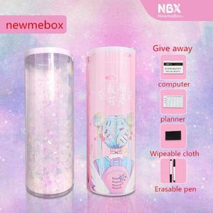 Image 4 - Newmebox Đựng Quicksand Estuche Escolar Mèo Kawaii Hộp Bút Chì Kim Sa Lấp Lánh Pencilcase Nbx Trousse Scolaire Stylo Papelaria