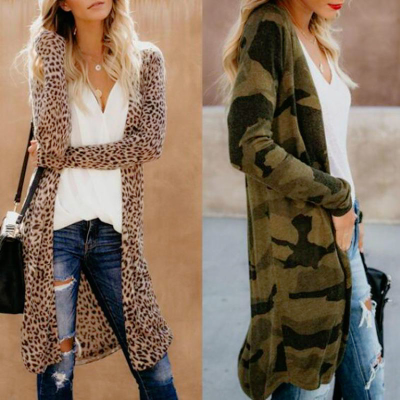 Women Fashion Causal Long Sleeve Cardigan 2019 Autumn Coat Leopard Camouflage Snakeskin Pattern Sueter Long Sweater Women