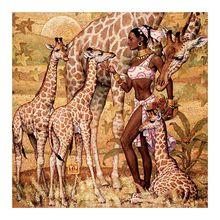 African Grassland women and Giraffe Diamond Painting portrait animal Round Full Drill DIY Mosaic Embroidery 5D Cross Stitch gift