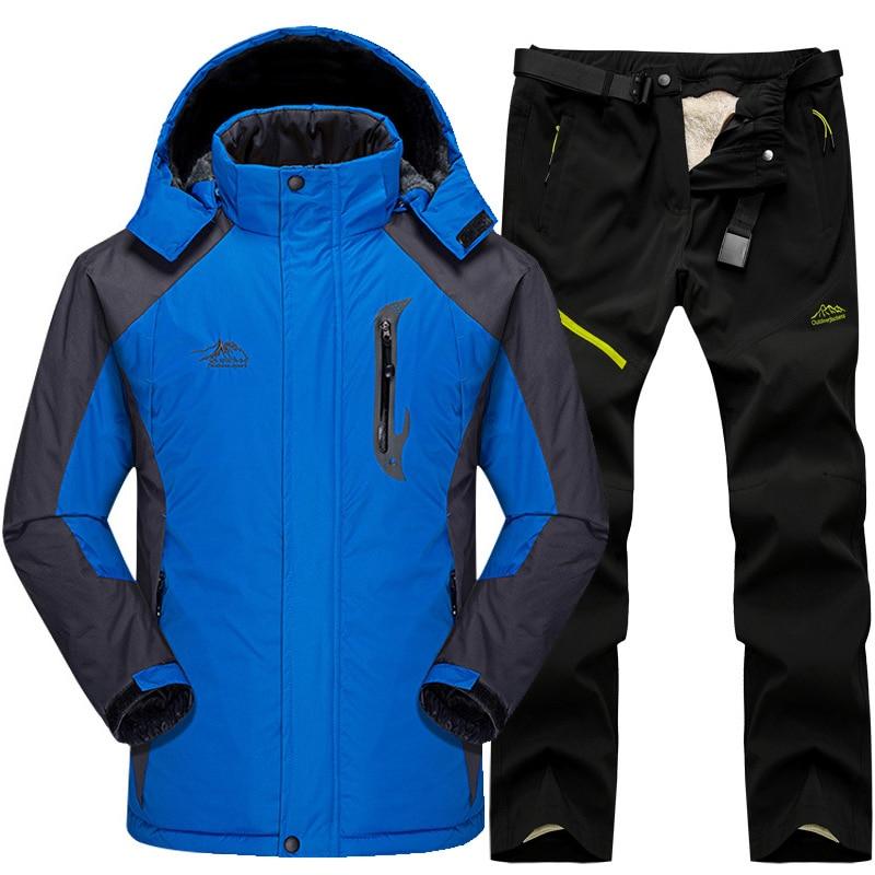 Ski Suit Men Snow Skiing Jackets Set Outdoor Thermal Waterproof Windproof Snowboard Jackets And Pants Camping Hiking Jackets Set