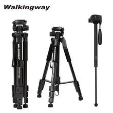 Walkingway Q222 Portable Camera Tripod Stand Aluminum Travel Tripode Monopod for Photography Video Digital SLR DSLR Camera