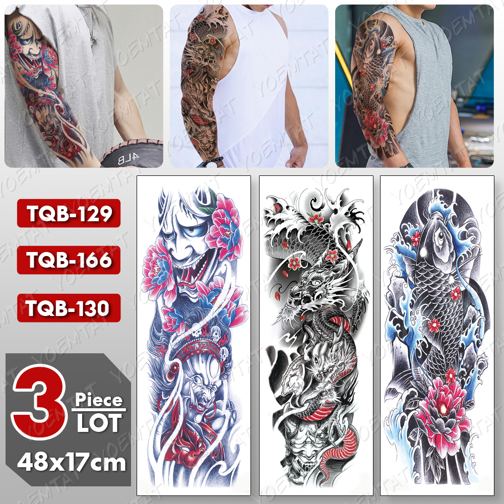 3 Pcs/lot Large Arm Sleeve Tattoo Japanese Dragon Waterproof Temporary Tatto Sticker Carp Body Art Full Fake Tatoo Women Men