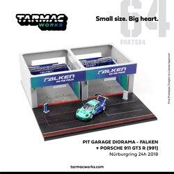 Tarmac Works 1:64 Pit Garage Diorama FALKEN Nurburgring 24h 2018 including 911 GT3 R 991