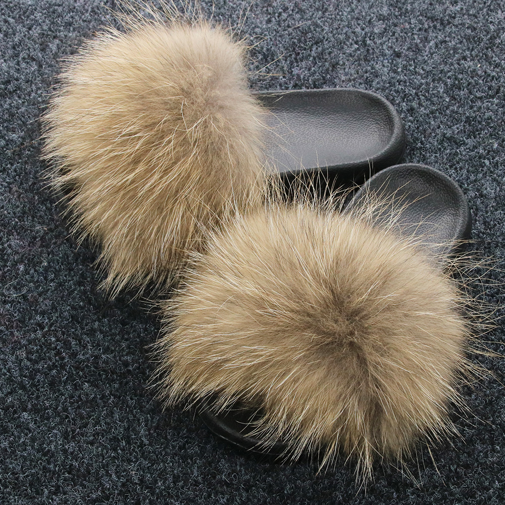 Inverno chinelos de pele de raposa real