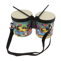 2pcs Bongo Drums With Drumsticks & Bag Percussion Small Toy For Early Education