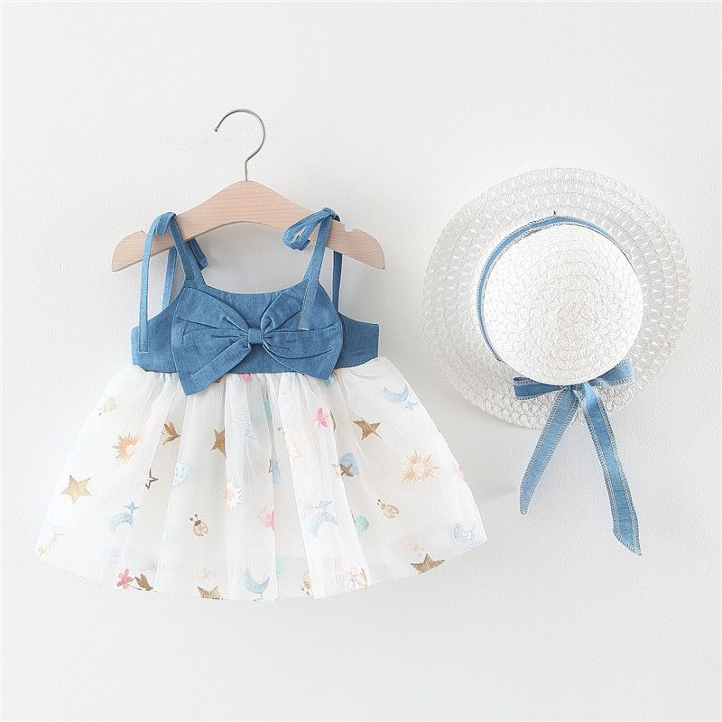 2020 Summer Baby Girls Clothes With Hat Infant Toddler Princess Party Dress Bow Denim Suspender Dress Newborn Tutu Tulle Dress