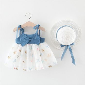2020 Summer Baby Girls Clothes With Hat Infant Toddler Princess Party Dress Bow Denim Suspender Dress Newborn Tutu Tulle Dress 2016 summer baby girls sequin dress stars sequins tulle bow toddler tutu princess dress girl kids costumes 1 5years sequin dress