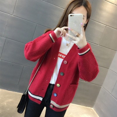 Network Red Sweater Coat Women's 2019 Spring And Autumn New Style Korean-style Loose-Fit Short Students Western Style Versatile
