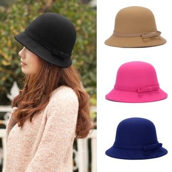 Fashion Ladies Women Cloche Hat Felt Bucket Fedora Bowler Dome Bow Cap Vintage chic letters pattern strap embellished felt bucket hat for women