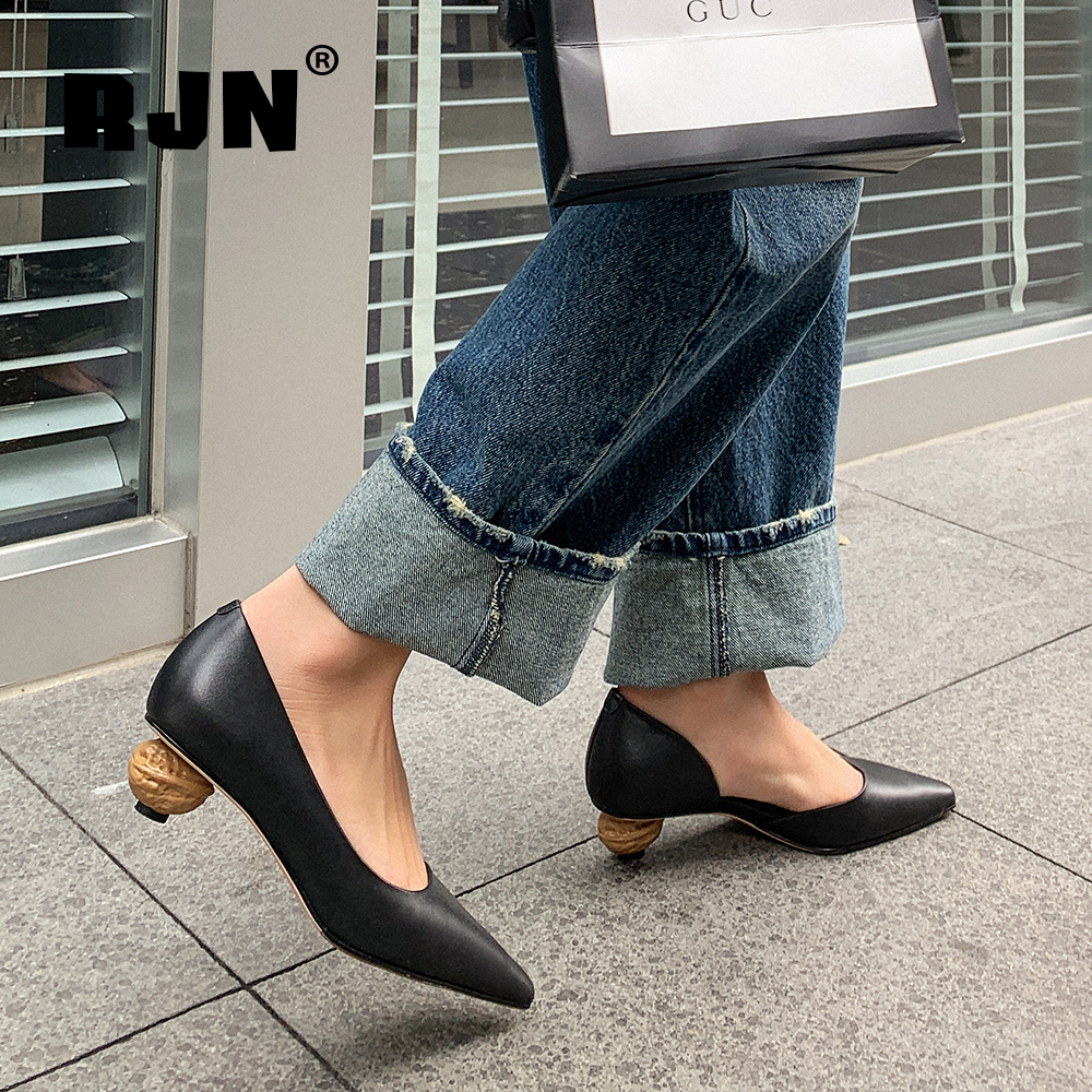 Promo RJN Special Design Pumps High Quality Genuine Leather Sexy Pointed Toe Strange Heel New Shoes Women's Elegant Shallow Pumps RO74