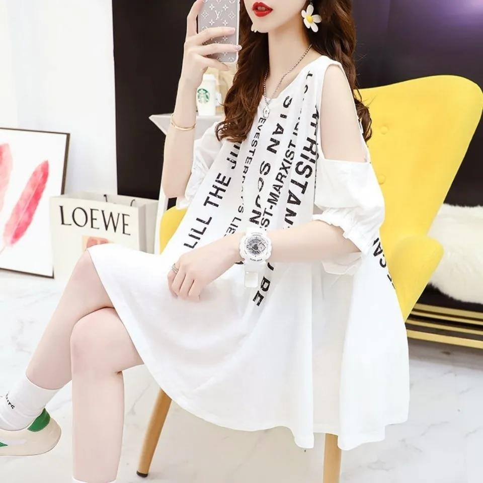 Средней длины с открытыми плечами для девочек-футболка с короткими рукавами подкладка T-shirt2021 Корейская версия студента свободные большие Р...