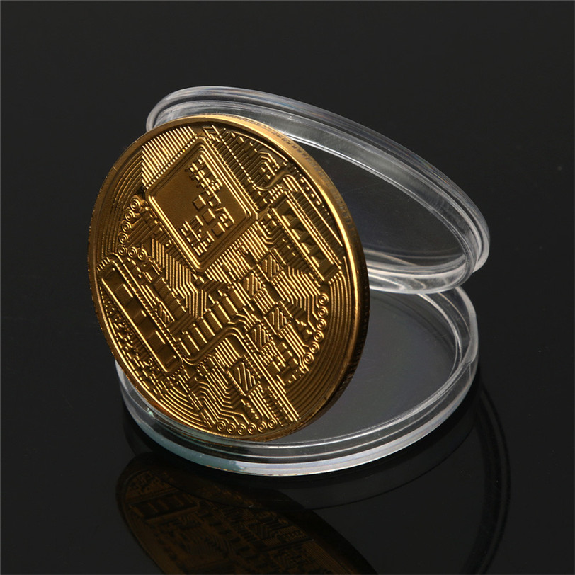 Gold Plated Physical Bitcoins Bit Coin BTC With Case Gift Physical Metal Antique Imitation BTC Coin Art Collection-2