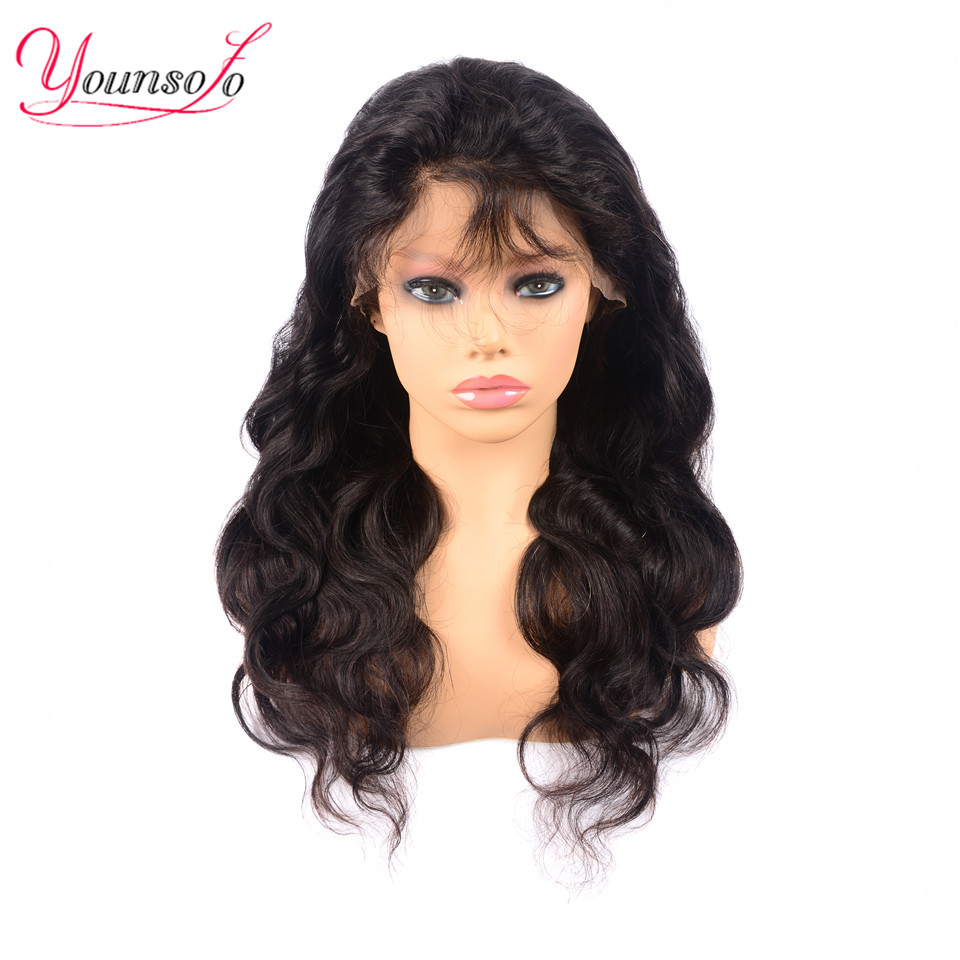 Younsolo 360 Lace Frontal Wig Pre Plucked With Baby Hair Brazilian Body Wave 100% Human Hair Wigs Remy Hair Lace Front Wigs