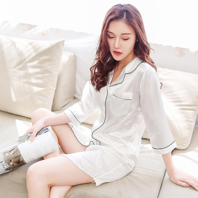 Nightdress Women Sleepwear Home Women Female Sleepwear Sleep Lounge Sexy fashion homewear Satin Seven-quarter sleeve