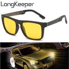 Sunglasses Men Goggle Driving Night-Vision Yellow UV400 Male Gafas Square Longkeeper