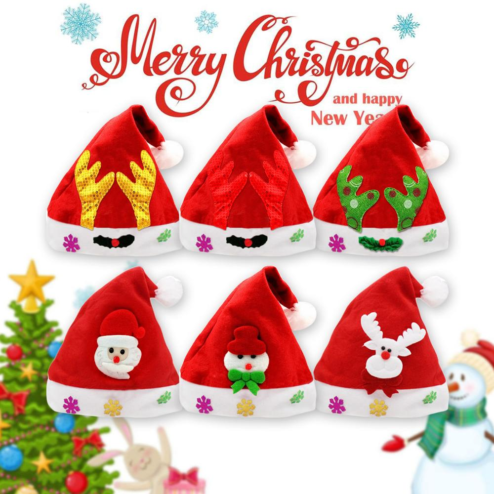6pcs Kids Adults Unisex Christmas Hat Santa Claus Snowman Reindeer Sequin Christmas Plush Hat Xmas Cap Christmas Party Prop Toy