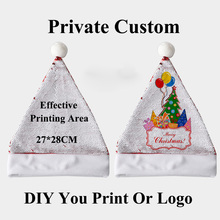 Adults Christmas DIY Printing Photo Sequin Non-woven Fabric Hat Printed On The Sequin Side Make Your Own Picture or Logo