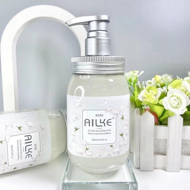 Whole Sale AILKE Brand Private label SPA works perfumed Rose scrub Sakura shower gel body wash for women Bath And Whitening 1
