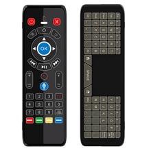 Mini teclado para jogos com controle remoto, 7 cores, touch pad, para mouse de ar, voz, giroscópio, 2.4g, luz led ir para smart tv box