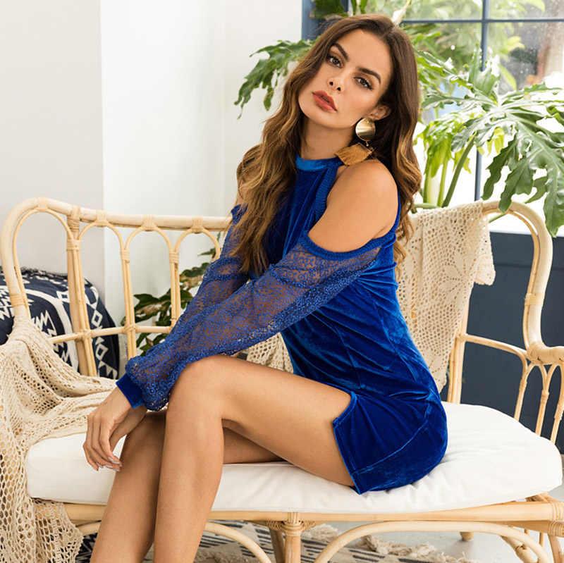 Популярные модели; сезон осень; пикантные платье кружевное зимнее платье Для женщин Элегантный Vestido; голубое платье, дополнительно черный бархат платья Для женщин Vestido Женские вечерние платья