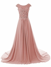 Prom Dresses Long Evening Gowns Lace Bridesmaid Dress Chiffon Formal Cap Sleeve Gown