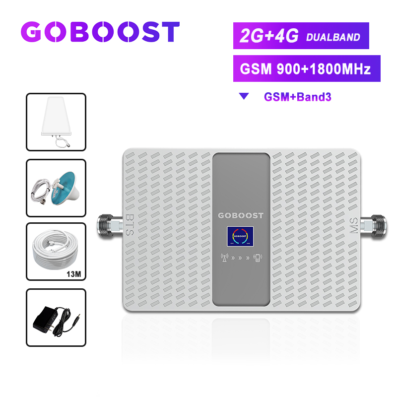 Gsm Signal Booster 900 1800 Cellular Signal Amplifier 2G 4G LTE Dcs 70dB Gsm 900 Cell Phone Signal Booster Repeater Antenna *