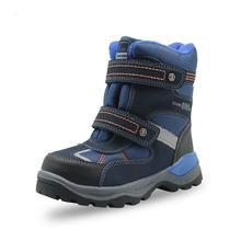 Chłopięce śniegowe botki dziecięce wodoodporne blokujące śnieg ciepła, z wełny buty górskie buty dla dzieci Hook & loop
