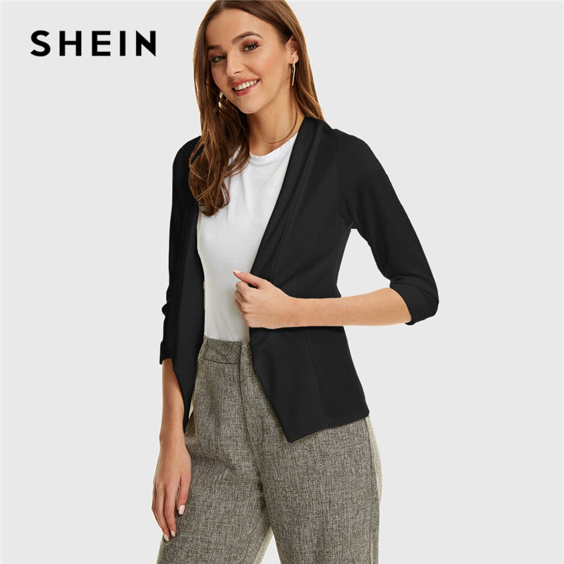 SHEIN Black Or White Shawl Collar Solid Slim Blazer Women Summer Autumn 3/4 Length Sleeve Office Ladies Outwear Casual Blazers